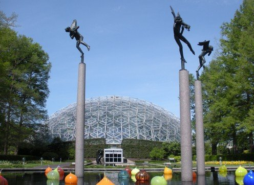 The Climatron in the distance, at Missouri Botanical Garden.  Imagine this area decked out in lights!