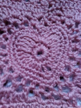 The heart in the center of the Granny Valentine Crochet Bag that I made using a free crochet pattern.