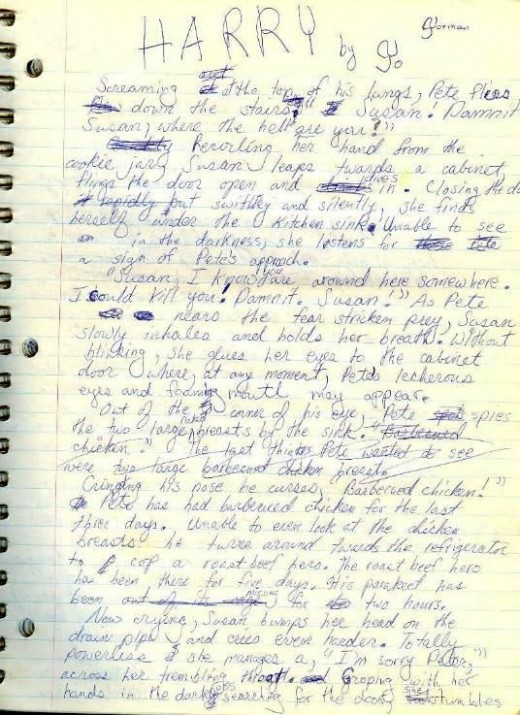 page 1 original manuscript of Harry