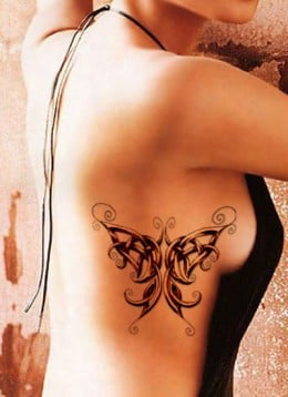 Celtic Butterfly Tattoo on Rib Cage