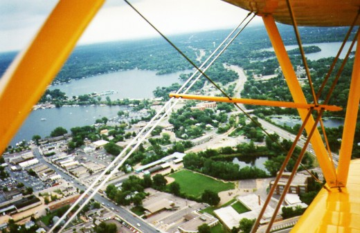Flying over Lake Minnetonka in the Stearman