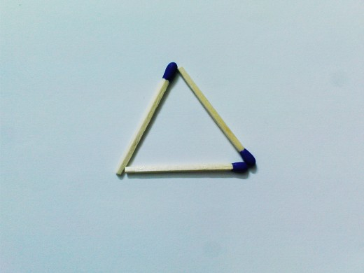 Triangle from 3 matchsticks... Prett Easy...duh. Any one would have done it.