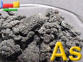 Arsenic is a crystalline solid that tarnishes rapidly in air, and at high temperatures burns to form a white cloud of arsenic trioxide
