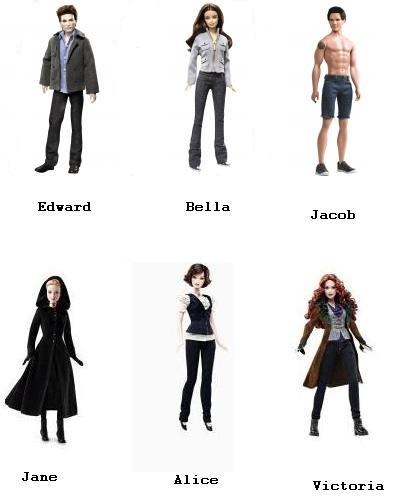 Twilight Saga Barbie Doll Collector Series - Edward Cullan, Bella Swan, Jacob Black, Jane, Alice Cullen and Victoria