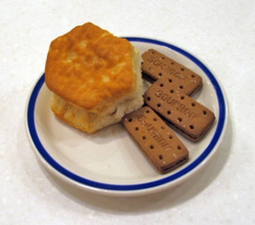American biscuit (left) and one variety of British biscuits (right) - the American biscuit is soft and flaky; these particular British biscuits have a layer of chocolate filling between two hard wafers.