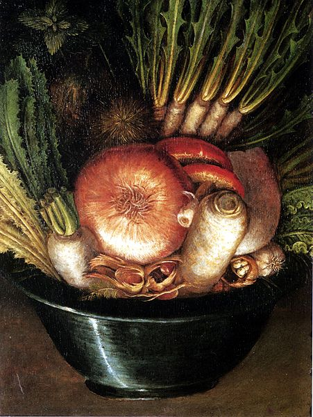 Portrait with Vegetables (The Greengrocer), rotated 180 degrees By Artist: Giuseppe Arcimboldo