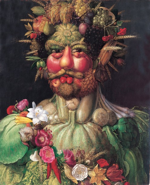 Giuseppe Arcimboldo was a 16th Milanese artist who specialized in fanciful portraits like these. This is The Gardener,   Rudolf II (Holy Roman Emperor) painted as Vertumnus, Roman God of the seasons, c.1590-1