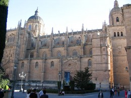 The new Cathedral of Salamanca built during the 16th to the 18th centuries.  Also the courtyard where I took my morning classes.