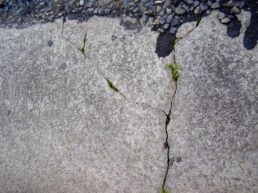 A example of cracks in a concrete surface