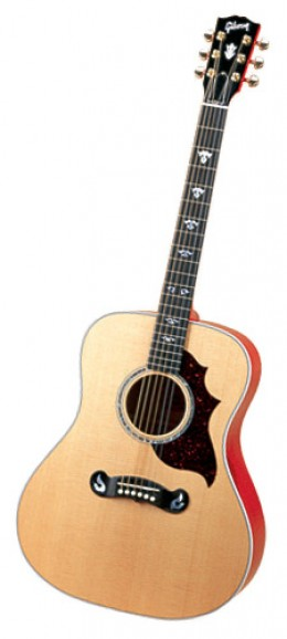 """The Gibson Dove """"Artist"""" Model — Note The Change In Pickguard Design and Fret Marker Inlay.  Also Note The Changed Bridge Design."""