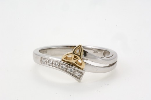 White Gold band with yellow gold Trinity Knot Celtic Wedding rings from
