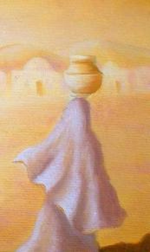 This is a woman carrying water; in much the same way they were carrying also other hateful things as explained in the text.