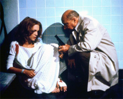Laurie Strode (Jamie Lee Curtis) and Dr. Sam Loomis (Donald Pleasance) in Halloween II.