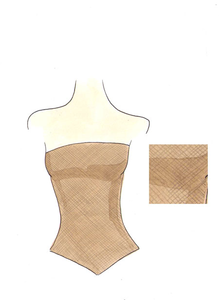 Draw fine net all over the garment.