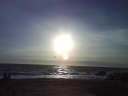 The sun lighting up the Kovalam beach at sundown