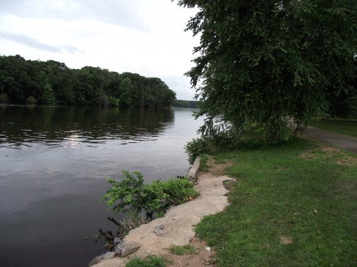 The Wisconsin River. Taken on a day in late July just before it started raining.Near expressway bridge.