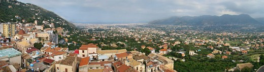Plain of the Conca d'Oro, Sicily, Italy. View from the top of the Cathedral of Monreale, looking northeast. At the horizon, Palermo and the Tyrrhenian Sea.