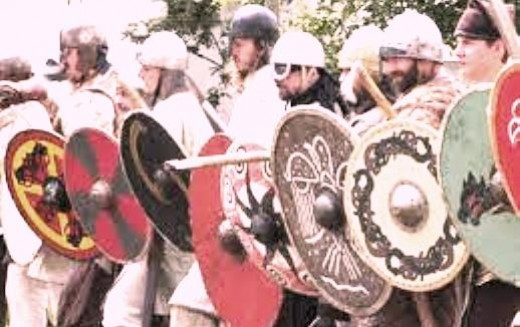 What the Varangian Guard had in common with other Viking warriors was the knack for fighting at close quarters. Here a Viking shieldwall readies for immediate attack
