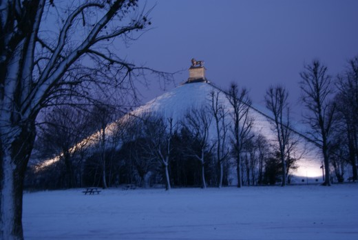 The Lion's Mound, Waterloo, in the evening.