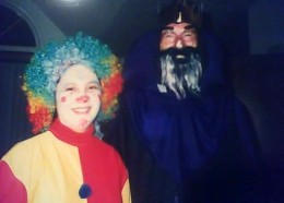 Mommy as clown, Daddy as wizard.