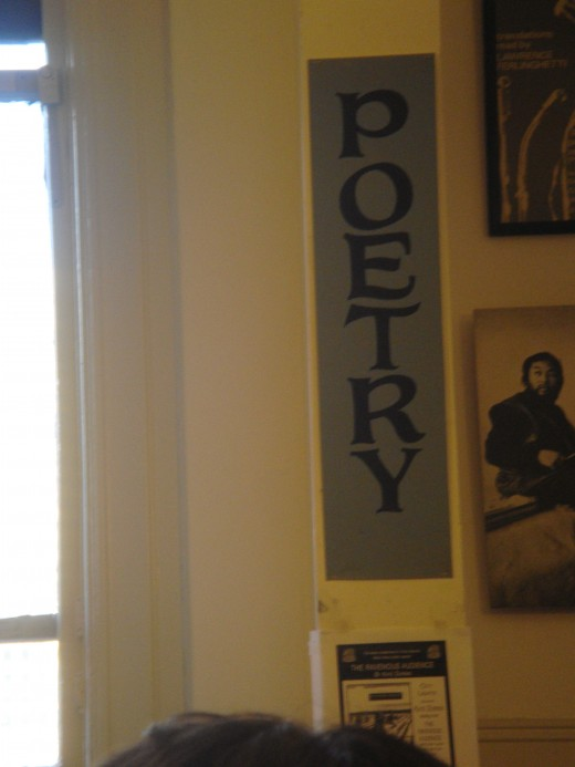 Wall in poetry room at City Lights bookstore