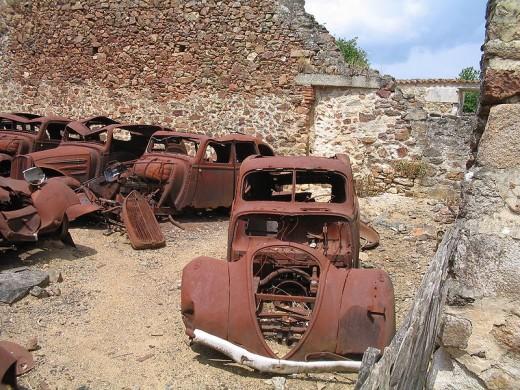 Wrecked cars, Oradour-sur-Glane, France