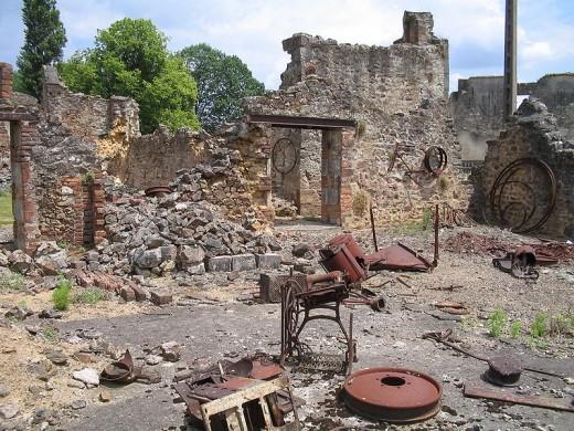 Wreckage left behind, Oradour-sur-Glane, France