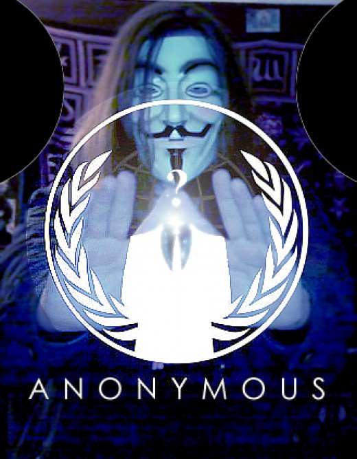 Anonymous in Blue ~ This is a photoshop manipulated photo of my friend Troy Palmer doing the Illuminati symbol with the Anonymous logo superimposed. Neither of us is part of Anonymous, but then noone is.