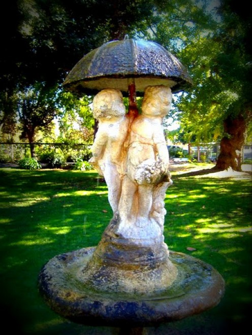 Matte effect on the water fountain.  Shinn Park in Fremont California.