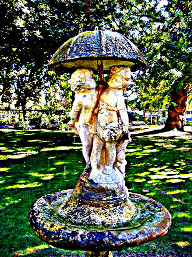 HDR-ish and auto boost effect on the water fountain . Shinn Park in Fremont California