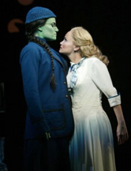Elphaba (Idina Menzel) and Glinda (Kristin Chenoweth) get nose to nose as their personalities clash.