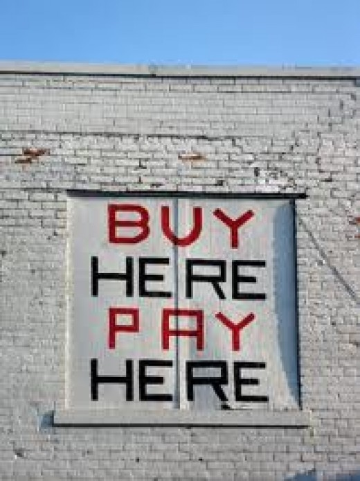 """Buy here pay here"" lots sell used vehicles that require no credit check, but you really need to be aware of their high priced vehicles."