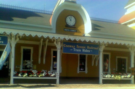 "North Conway railroad station - the way we know we're ""almost there"" (Stonehurst Manor)"