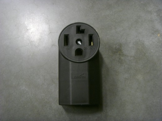 4 Prong receptacle.  It could also be a flush mount as the 3 prong receptacle shown is.
