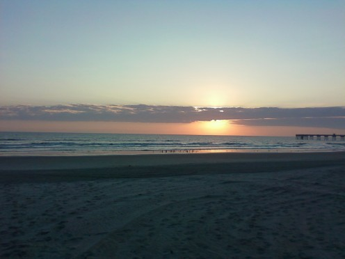 My view of the sunrise on the beach.