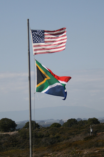 South African and the United States flag