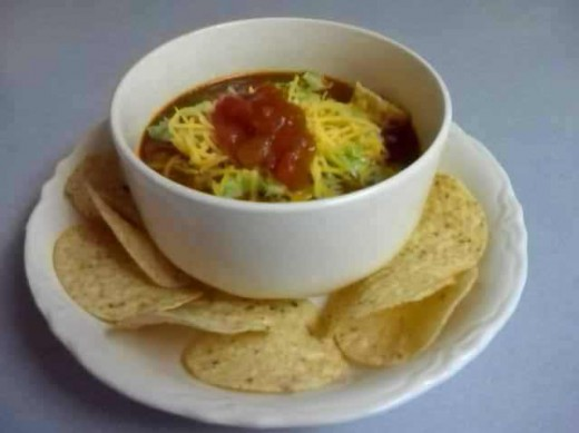 Serve This quick and easy Taco Soup garnished just like a taco!  It is delicious and will be a favorite for cool days!