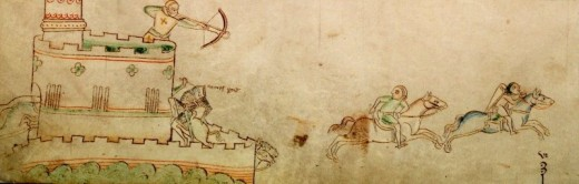 Battle of Lincoln Fair. Thomas du Perche's death depicted at bottom of tower.