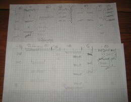 The sketch of the chart for my asymmetric 14 cable hat knitting pattern.