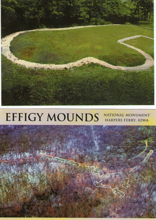 Little Bear Mound, above, on the Fire Point Trail, is one of 31 animal form effigies and 195 prehistoric mounds created by Woodland Indians within Effigy Mounds National Monument.