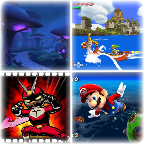 Top to bottom: World of Warcraft, The Legend of Zelda: The Wind Waker, Viewtiful Joe, Super Mario Galaxy. Trademarks owned by Blizzard (C), Capcom (C) and Nintendo (C).
