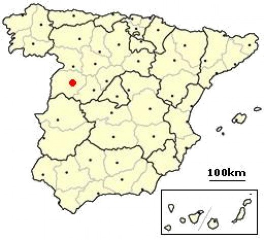 Salamanca is located in western Spain about 200 km from Madrid, the capital city.  It is in the region of Castilla and Leon.