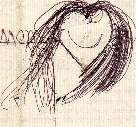 One of my sons drew this many years ago on a slip of paper and I kept it. The heart shaped face and the word mom just stuck with me. I love this.