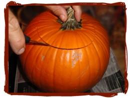 A serrated blade works well on pumpkin.