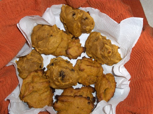 Pumpkin cookies with raisins and walnuts.