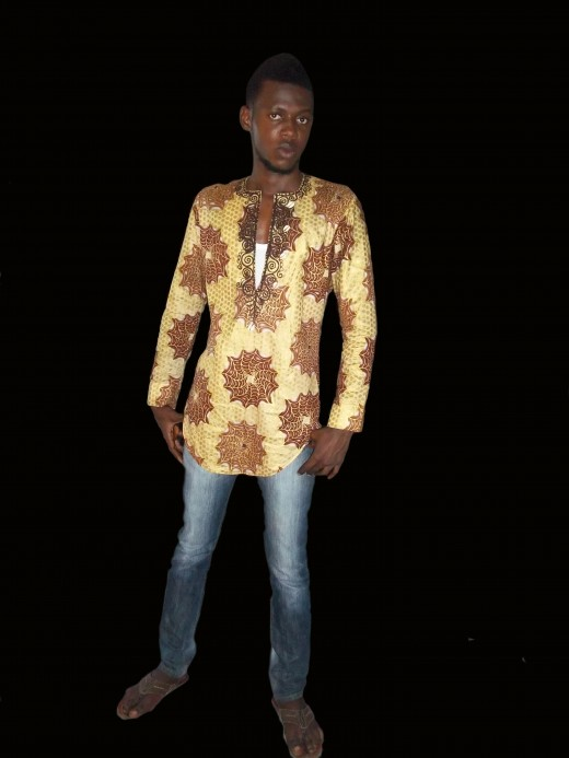 Lace material in ad Dinner wear and casual male outfit made of Nigerian print and Cowries