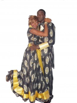 Combination of  Nigerian print and silk for a couple outfit
