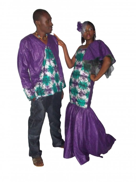 Tie and die material locally made by the designer for couple's Dinner wear