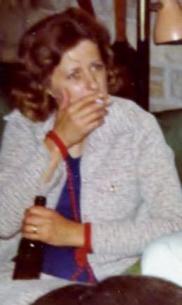 Sue, with obligatory drink and smoke