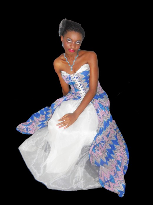 Combination of Nigerian print and a silk for a wedding Gown